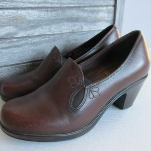 Dansko Shoes Brown Leather Flower Dress Slip On